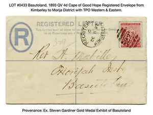 0433: Basutoland, 1893 QV 4d Cape of Good Hope Registered Traveling Post Office