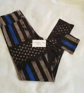 NWT LuLaRoe *Actual Photos Tween Blue Line Flag United Strong Police Leggings !!