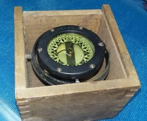 "ANTIQUE 3 1/2"" STAR MARITIME SHIP COMPASS WOODEN BOX BOSTON - 43238"