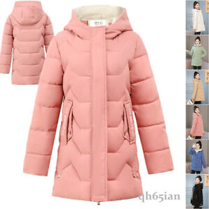 Women's Winter Long Parka Quilted Coat Hooded Ladies Warm Padded Puffer Jacket