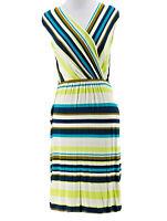 Merona Women's Yellow Green Striped V-Neck Sleeveless Dress Size Small
