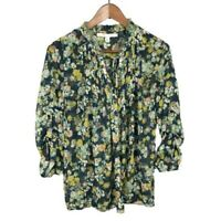 LC Lauren Conrad Womens Blouse Size XS Floral Popover Long Sleeve Roll Tab Top