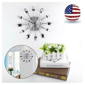 Stainless Steel Wall Clock Home Decor Cutlery Kitchen Utensil Spoon Fork Clock