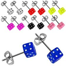 2 Cube Stud Earrings also for Kids Neon Shiny Bright Colour Black and White Dice