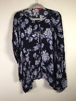 Tigerlily womens navy blue floral kimono top size S 3/4 sleeves viscose