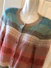 TALBOTS  Cardigan Sweater Fair Isle Medium petite Lambs wool blend