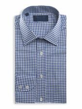 Classic Collar, 2 Button Cuff Shirt in a Navy Check Twill Cotton