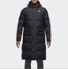 Adidas Men 3STR Long Down Coat Padded Jacket Black Warmer Top Parka Coat DT7920