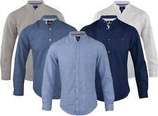 Mens Linen Long Sleeved Shirt Casual Summer Grandad Collar S-XXL