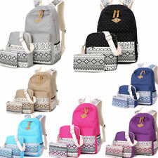 3pcsset backpack women canvas travel bookbags school bags for teenage girls el