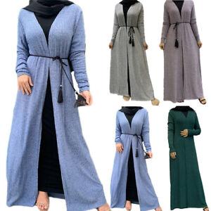 Open Cardigan New Women Knitted Muslim Long Dress Abaya Kaftan Party Kimono Robe