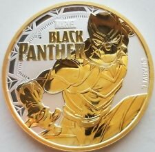 2018 Black Panther Marvel Series ,1 oz  .9999 Pure Silver Coin , 24k Gold Gilded