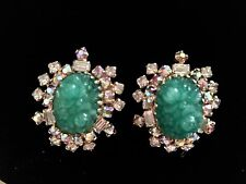 Vintage Hobe' Faux Carved Green Jade Clip Earrings surrounded by Rhinestones