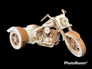 Laser Cut Wooden Harley Davidson Freewheeler Trike 3D Model/Puzzle Kit