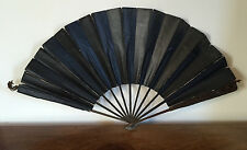 Antique 19th c. Lady's Mourning Fan Black Black Waxed Paper Fabric Wood Lace