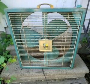 """Vintage Emerson Electric Mid Century 20"""" Box Fan Two Way Works Intake Exhaust"""