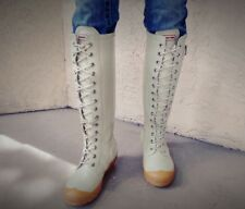 HUNTER Watling Off White Lace Up Rubber Rain Boots Women's SZ 5 6 US