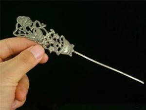 Old Chinese Sterling Silver Made Hairpin Bat, Fish & Flowers ~ Auspicious