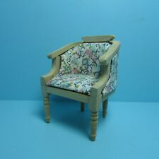 Dollhouse Miniature Unfinished Arm Chair with Floral Fabric ~ GW037