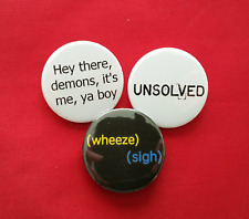 3 Buzzfeed Unsolved inspired badges set badge pack Supernatural True Crime