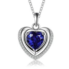 18k White Gold Filled Ocean of Heart Blue Crystals Heart Pendant Necklace N546
