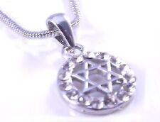 Estrella De David Magen Judaica Collar Colgante Kabbalah Joyería De Plata Con Piedras