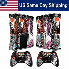 Decal Protect Skin Sticker for Xbox 360 Slim Console & 2 Controllers Set
