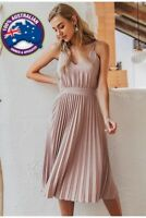 Women's Pleated Office,Casual Summer Solid Pretty Pink,Red,Leopard Midi Dress