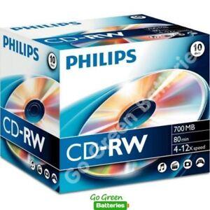 10x Philips CD-RW Blank Rewritable Discs 80 Mins 700MB 4-12x Speed Plastic Cases
