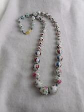 ANTIQUE CHINESE EXPORT PAINTED FLORAL & BIRD GRADUATED PORCELAIN BEAD NECKLACE