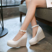 Womens Ankle Strap Wedge High Heels Round Toe Platform Pumps Shoes UK 1--8 D626