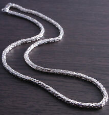 20 inch Sterling Silver 3mm Square Byzantine Chain Italian Made DB4R