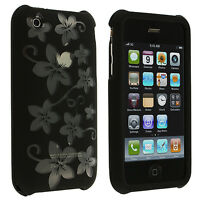 Black Silver Hawaii Flower Hard Design Case Cover for Apple iPhone 3G S 3GS