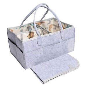NEW Baby Diaper Caddy Organizer Grey Nursery Diaper Tote Bag / Portable Bin Felt