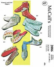 SLIPPER Fabric Pattern McCall's #2086 Vintage 50s Slippers & Case UNIQUE 4.5-8.5