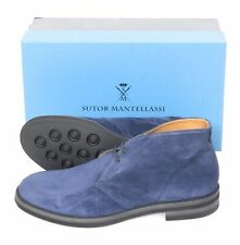 New SUTOR MANTELLASSI Navy Suede Leather Ankle Boots UK 6.5 US 7.5 D $920!
