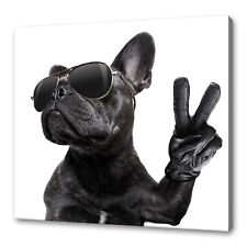THE COOL FRENCH BULLDOG IN GLASSES PEACE SIGN CANVAS PRINT WALL ART PICTURE