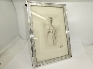 ANTIQUE EDWARDIAN GORHAM STERLING SILVER PICTURE FRAME,W/GLASS & BACKING STAND