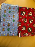 Vintage Lot Of 2 Yds Cotton  Fabric Holiday Prints - Gingerbread & Puppies