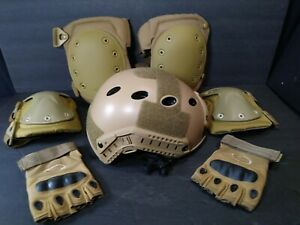 Condor Tactical Coyote Brown Tactical Airsoft SET~Helmet Knee +Elbow Pads~Gloves