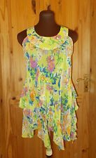 WALLIS lime green yellow pink blue floral chiffon camisole vest tunic top S8-10