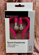 Signalex Sports Earphones Gym Training Running Fitness Pink Grey Phone 3.5mm