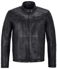 Mens Leather Jacket Black Shoulder Pattern Lambskin Biker 100% Leather 1418