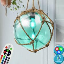 Retro RGB LED Lámpara Colgante Cristal Bola Pasillo Cáñamo Cuerda de Techo Mando