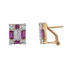 14K Yellow Gold Diamond Ruby Earrings  Omega Back   100% REAL