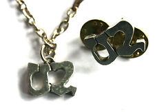U2 Logo Vtg 1993 Set Cast Metal Pin Badge+Pendant With Chain By Poker Winterland