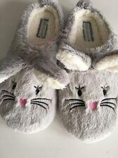 Mesdames gris bunny rabbit slip on mule style pantoufles taille 3-4 pâques cadeau