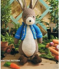 (209) Peter Rabbit COPY Knitting Pattern, Soft Toy with Jacket and Carrot in DK