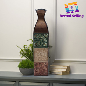 Tall Floor Vase Decorative Large Big Embossed Pattern Multicolor Metal Tile 24In
