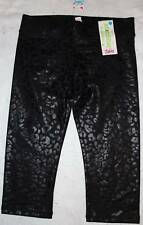 NWT Justice Girl's Cropped Animal Spotted Black Stretch Leggings 10 Yrs.